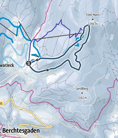 Karte / Skitouren Teststrecke Hochschwarzeck