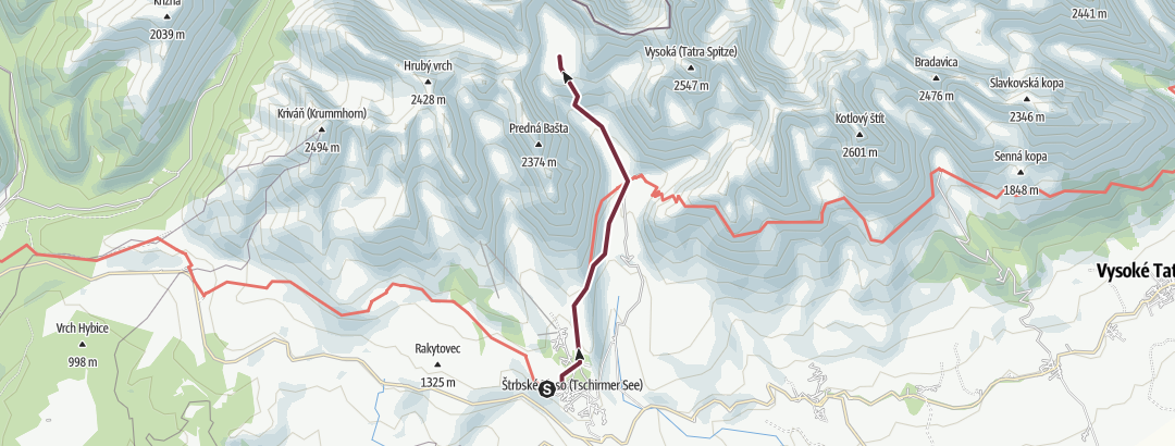 Static Map Hikes in valleys - To Veľké Hincovo pleso