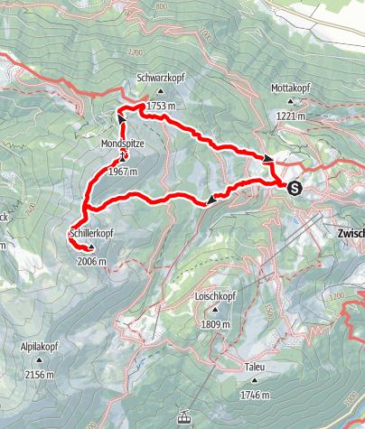 Karte / Vom Schillerkopf zur Mondspitz
