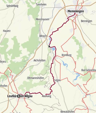 Karte / Von Leutkirch nach Memmingen