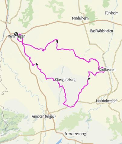 Karte / Rennradtour durchs Allgäu