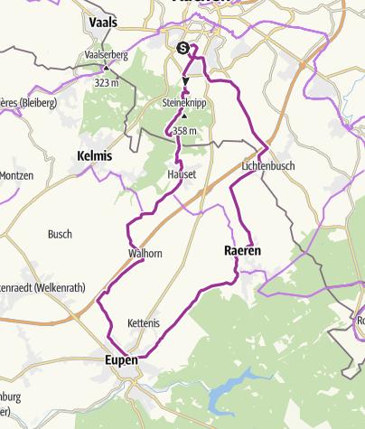 Karte / Aachen Süd bis Eupen und zurück