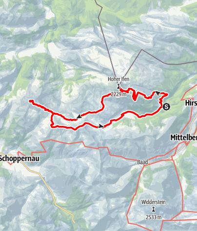 Map / Auenhütte, Hoher Ifen, Diedamskopf, Falzer Kopf, Kreuzmandl, Steinmandl, Schwarzwasserhütte, Auenhütte