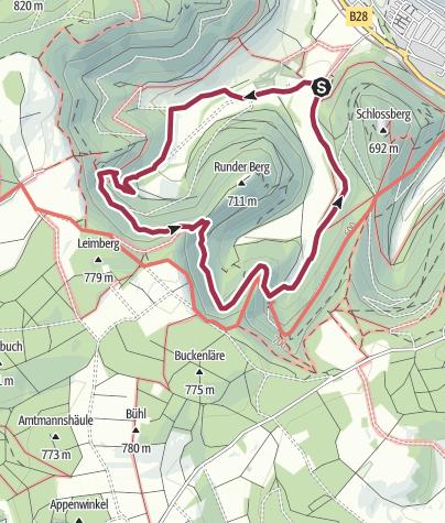"""Karte / Bad Urach - rund um den """"Runden Berg"""""""