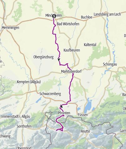 Karte / Von Mindelheim ins Tannheimer Tal