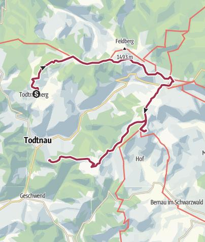 Karte / Über die Höhenzüge des Südschwarzwaldes