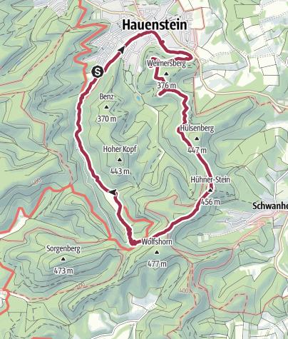 Karte / Pfälzer Rundwanderung mit Einkehr - Paddelweiherhütte