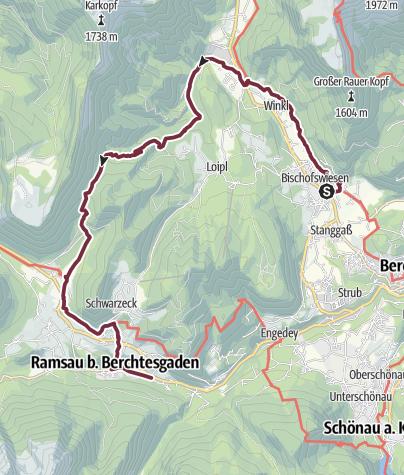 Karte / SalzAlpenSteig: Etappe 8: Bischofswiesen - Ramsau