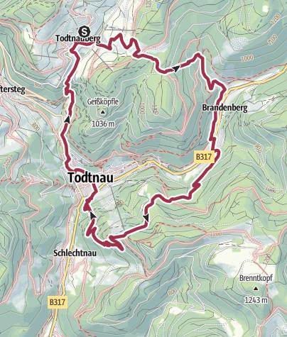 Karte / Von Todtnauberg zum Hasenhorn und dem Wasserfall