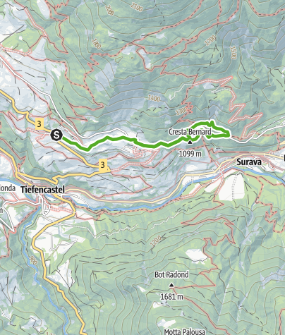 Karte / Kulturweg Voia Culturala Brienz/Brinzauls - Vazerol