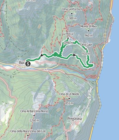 Map / Biacesa - Via Ferrata Cima Capi - Via Ferrata Mario Foletti / Susatti - Cima Rocca - San Giovanni - Biacesa