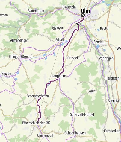 Karte / Donau-Bodensee-Radweg - Etappe 1 von Ulm nach Biberach