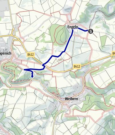 Karte / Wegbeschreibung vom Bahnhof Engeln zum Freizeitbad Brohltal