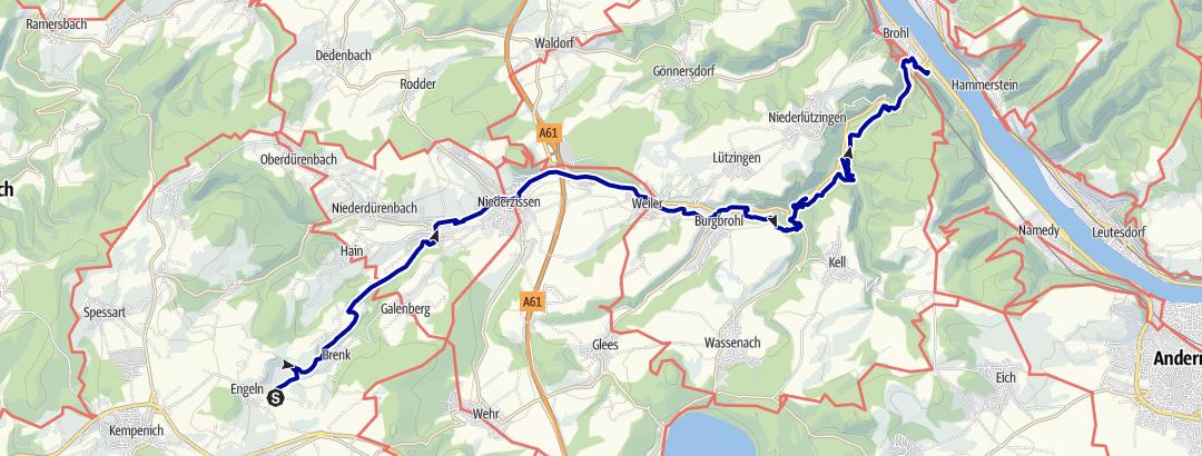 Karte / Bahnwandern im Brohltal - Entlang der Gleise von Engeln nach Brohl