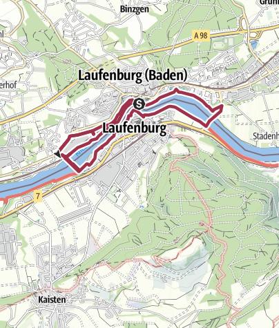 """Karte / Laufenburg: Rheinrundweg """"Laufenburger Acht"""""""