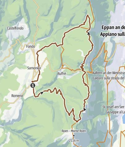Cartina / Tour ad anello tra i monti dell'Alta Val di Non con salita al Monte Penegal