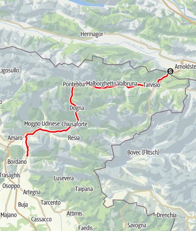 Karte / Von Thörl-Maglern über Tarvisio bis Venzone