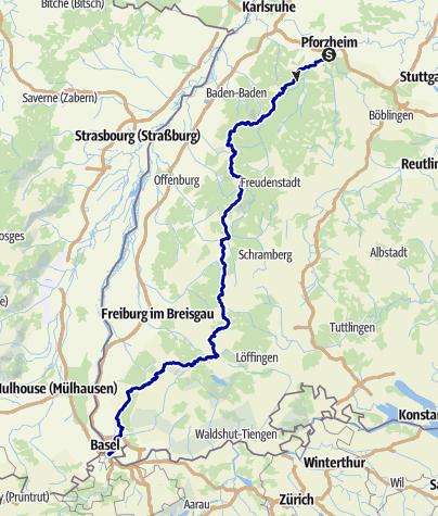Karte / Westweg - Wanderstrecke, Pforzheim --> Basel (westliche Variante)