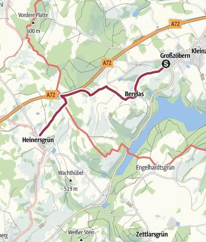 Karte / Barrierefreier Wanderweg von Grosszöbern bis Heinersgrün