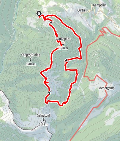 Karte / Hohe Köpfe über Gurtisspitze