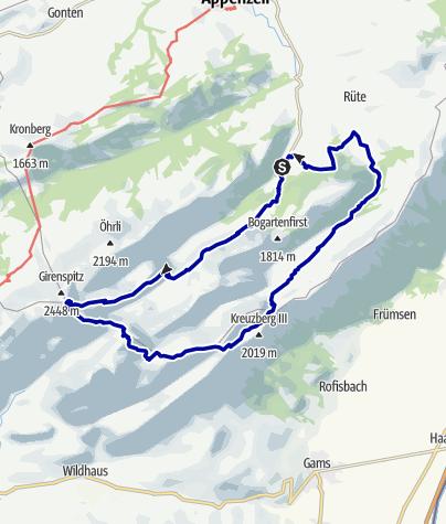 Kaart / 2-Tages-Tour duch das Alpsteingebirge