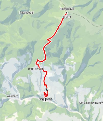 Karte / Gipfeltour: Von Mönichwald auf den Hochwechsel