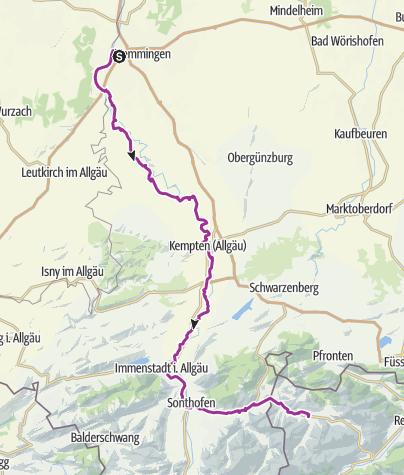 Karte / Alpenüberquerung 3. Etappe Buxheim ins Tannheimer Tal