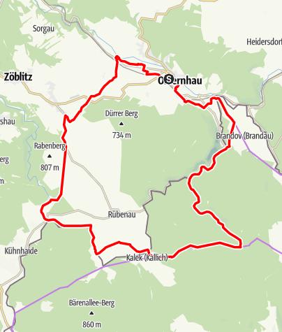 """Karte / Rad-Tour """"Gelbes Reiterlein"""" Olbernhau"""