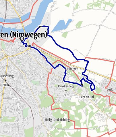 Kaart / Waalstrand-Polder-Ubbergen-Stuwwall-Valkhof <route>