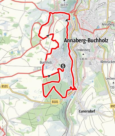 """Karte / Bergbaulehrpfad """"durch den Buchholzer Wald"""""""