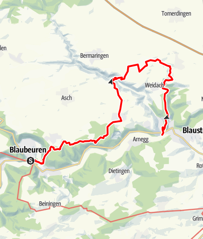 Karte / Blaubeuren-Weidacher Hütte-Herrlingen