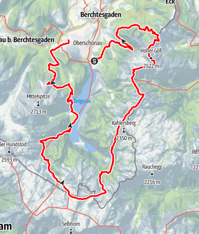 Kaart / 6 Tage um den Königssee: Hüttenrundtour