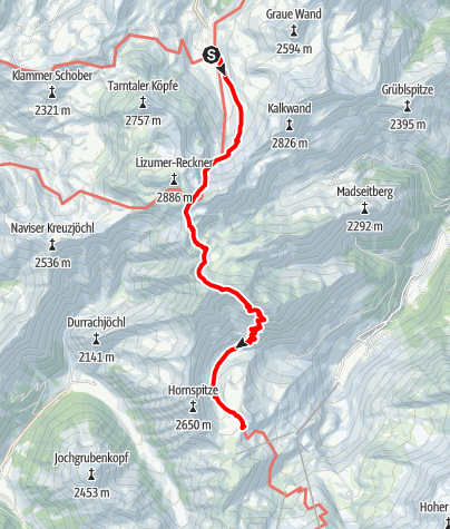 Karte / 9 Lizumer Hütte - Tuxerjoch Haus