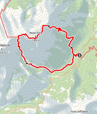 Kaart / Rundtour über dem Monte D Oro