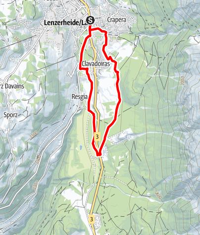 Kaart / Lenzerheide - Golfplatz - Kieswerk Lantsch/Lenz - Lenzerheide