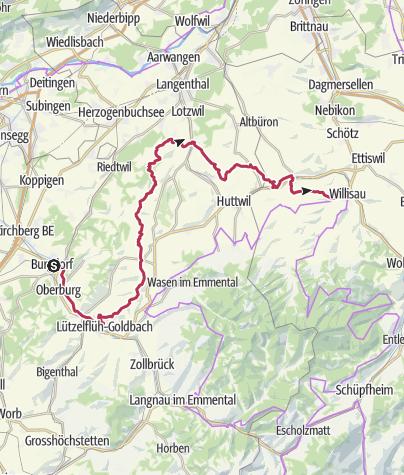 Karte / Herzroute - Etappe 6 - Burgdorf - Willisau