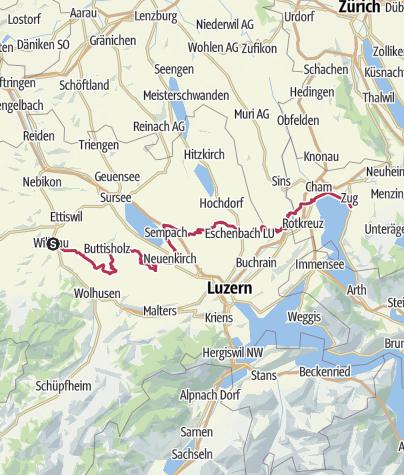 Map / Herzroute - Etappe 7 - Willisau - Zug