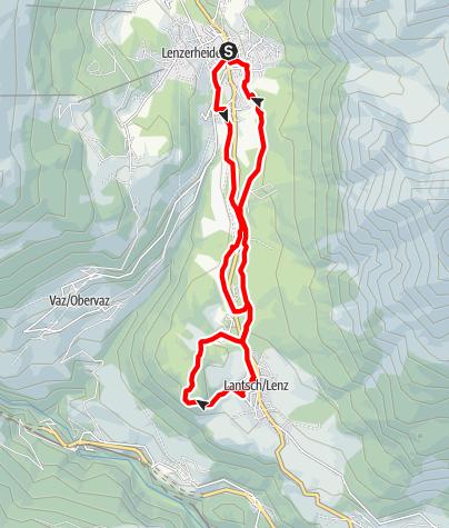 Map / Lenzerheide – Golf course - Lantsch/Lenz - Crap La Tretscha - Camping – Lenzerheide