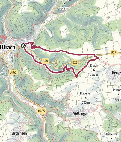 Karte / Bad Urachs alte Wege und mittelalterliche Rodungsfläche