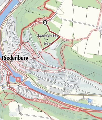 Map / Blick auf Riedenburg und das Altmühltal - barrierefreier Spazierweg