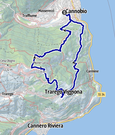 Kaart / Wanderung von Cannobio zum Monte Carza (mit Hund)