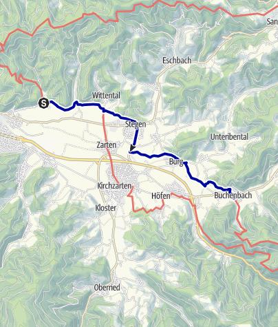 Karte / Querweg Freiburg - Bodensee: Ebnet - Buchenbach