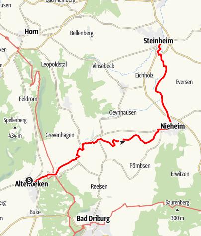 Karte / X8 Emmerweg - 1. Teilstrecke (Altenbeken - Nieheim - Steinheim)