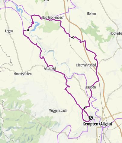 Karte / 12. Oktober 2015 Tour zur neue Hängebrücke an der Iller.