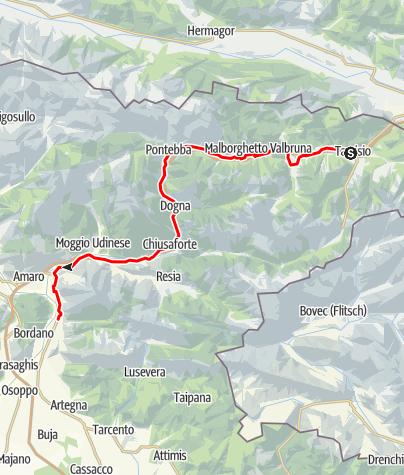 Karte / Kanaltal Pontebbana Radweg