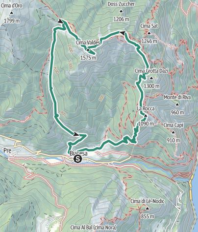 Map / Über den cima Rocca zum cima Valdes