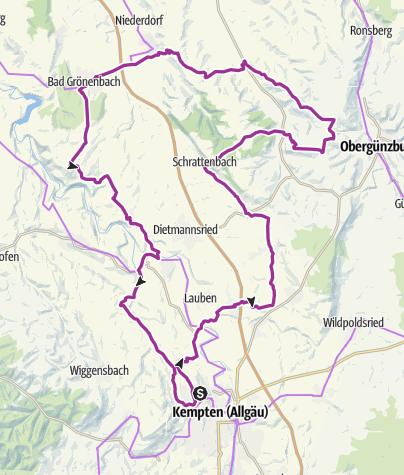 Karte / 11. Mai 2016 Haldenwang-Schrattenbach-Eschers-Böhen-Bad Grönenbach-Sachsenried- Depsried-Runde: