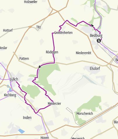 Karte / Wasserburgen-Route: Etappe 3 Bedburg-Jülich
