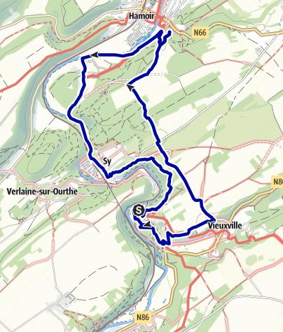 Kaart / Ronde van Sy, Vieuxvile, Hamoir, Sy
