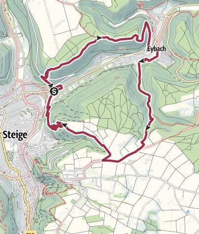"""Karte / Löwenpfad """"Geislinger Felsen-Tour"""" - Auf und ab durchs Eybacher Tal"""